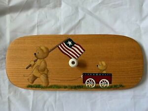 """Wood Lid Hand Painted 1994 For Longaberger Teddy Bear Americana 11.5""""x4-3/4"""""""