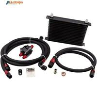 Universal 15 Row AN10 Engine Transmission Oil Cooler + 3/4*16 Filter Relocation