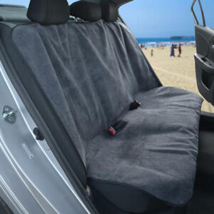 Waterproof Towel Rear Car Seat Covers for Sweat Yoga Gym Pets - Gray/ Black