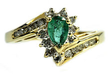 Women's .86 ct Emerald & F/SI2 Diamond GIA Spec Cocktail Ring 10k Solid Gold