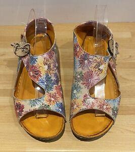 Ladies leather Rialta Multi Floral sandals by Shuropody Multicoloured EU40 E 6.5