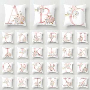 White Cushion Cover Single Letter Flower Print Pillow Case Sofa Home Decoration