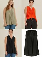 New Ex Evans Black Red Khaki Embroidered V-Neck Sleeveless Blouse Top Plus Size