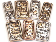 7 - 2 HOLE SLIDER BEADS TRI COLOR MOON HEART STAR, I LOVE YOU TO THE MOON & BACK
