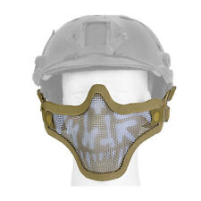 Mesh Half Face Helmet Mask Airsoft Paintball Protective Tactical Gear Tan Skull