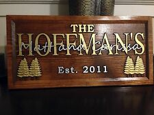"11"" x 23"" Wood Carved Personalized Gold and Silver lettered Sign with Gold Trees"