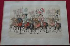 Large Antique Print MEDIEVAL SOLDIERS Festival SWITZERLAND Jenny KNIGHTS History