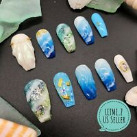 3D Sea Shell Marble Pearl Blue Long Coffin Nails Glue On Nails Press on Nails