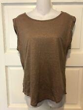 Ann Taylor Loft 100% Linen Women's Medium Short Sleeve Top Brown Metallic Thread