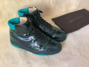 Rare Gucci 337208 Todd Black Green High Top Sneakers Size 7.5G = 8.5 US
