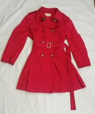 MICHAEL KORS Womens Red Double Breast Belted Trench Rain Fall Coat Jacket XL