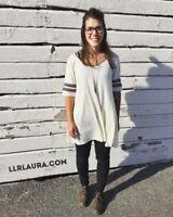 * LuLaRoe White & Black Perfect Scoop Raglan Stretch T-Shirt Top Soft Blend RARE