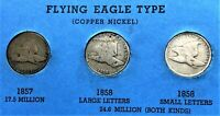 1857, 1858 SMALL LETTER, 1858 LARGE LETTER FLYING EAGLE CENTS, PENNY, COINS 11