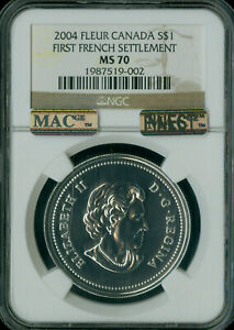 2004 CANADA FRENCH SETTLEMENT DOLLAR NGC MS70 PQ MAC FINEST GRADE SPOTLESS *