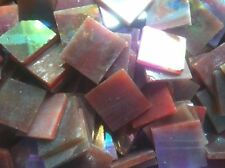 Stained Glass Mosaic Tiles - 25 ct - 3/4 inch Iridescent Red - Brown - Dti