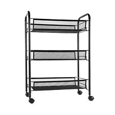 Mesh Storage Rolling Cart w/ 3 Tier Shelf Trolley Home Office Organizer Black