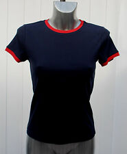 M&S Limited Edition Sizes 10-18 Ribbed Top T-Shirt Bnwt Navy/Red