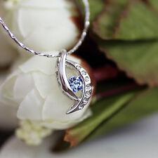 c100f296e34f Oro Blanco con Cristal Swarovski Azul Zafiro Angel Eye Collar con Colgante