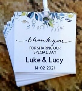 34 Wedding, Anniversary, Christening Gift Tags Toppers, Customised 2 x 2 inches