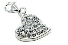 s8 Sterling silver pendants, charm 925 silver Heart with Swarovski crystals