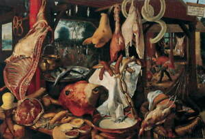 Pieter Aertsen Still Life with Meat and Holy Family Giclee Paper Print Poster