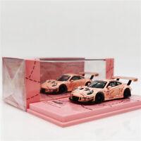 TW Tarmac Works 1:64 Porsche 911 GT3 R China GT 2018 Pink Pig Racing Diecast Car