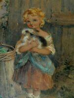 ARTIST EMILY FARMER SIGNED ORIGINAL WATERCOLOR PAINTING OF LITTLE GIRL