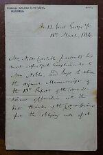 1836 Nicholas Carlisle, Antiquary & Librarian Letter
