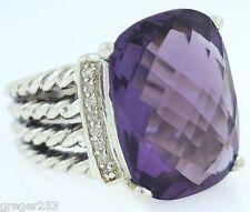 David Yurman Wheaton Ring With Amethyst And Diamonds 16x12mm Size 5.5