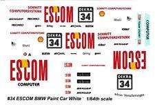 #34 ESCOM BMW M3 DTM Olaf Manthey 1/64 decals HO AFX TYCO