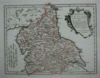 NORTH OF ENGLAND original antique map, YORKSHIRE, LANCASHIRE, Von Reilly, c.1790