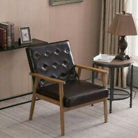 Modern Single Sofa Wooden Frame PU Leather Chair Armchair Seat Fireside Brown
