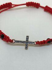 Sideways Cross Red Macrame Bracelet for Religious