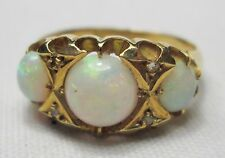 Victorian Antique 18ct Gold Precious Opal Cabochon & Diamond Ring Size M 1899