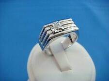 HANDSOME 14K SOLID WHITE GOLD MEN'S SOLITAIRE 0.16 CT DIAMOND RING 9.8 GRAMS