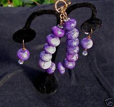 Charolite Bracelet & Earrings High Fashion Set W/ Swarovski Crystals Beautiful!