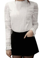 Women Ladies White Loose Casual Cotton Hollow Out Long Sleeve Shirt Tops Blouse
