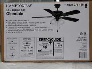 Glendale 42'' LED Indoor Oil-Rubbed Bronze Ceiling Fan w/ Light Kit Hampton Bay