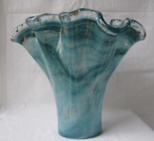 Genuine Italian Art Glass Vase GREEN BLUE GOLD FLAKE Tammaro Italy Murano No 549