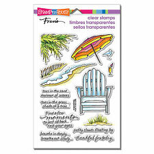 Stampendous ~ Seaside Chair ~ Clear Stamp Set ~ Ocean, Umbrella, Beach, Leaves