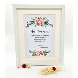 Personalised Nanny Print, Great Gift , Birthday  -   Same Day Dispatch