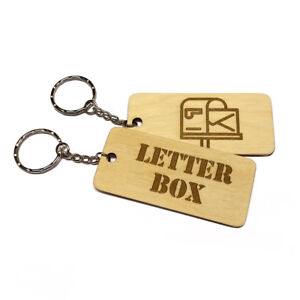 LETTER BOX  Keyring Wooden Engraved Keychain Key Fob Organise Label Your Keys