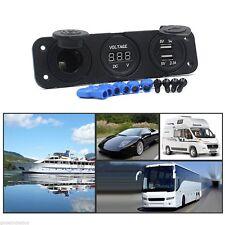 DC 12V Dual USB Car Cigarette Lighter Socket Adapter Outlet Charger Voltmeter
