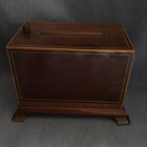 ANTIQUE EDWARDIAN INLAID MAHOGANY MECHANICAL POP-UP CIGARETTE DISPENSER c 1910