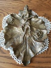 Vintage Fantasy Mythical Fairy M 00006000 andolin Frogs On Solid Brass Leaf Dish 7.5×10×1