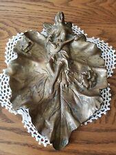Vintage Fantasy Mythical Fairy Mandolin Frogs On Solid Brass Leaf Dish 7.5×10×1