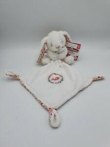 Doudou lapin mouchoir blanc rose liberty oiseau Pommette 2 dispo