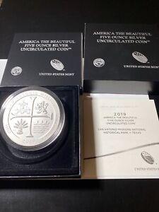 2019 5 oz Silver America the Beautiful coin-San Antonio Missions Box&COA