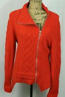 Magaschoni Women's L Knit Wool Cashmere Blend Full Zip Cardigan Sweater Orange
