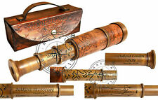 "14"" Antique Brass Leather Telescope Vintage Dollond London Pirate Spyglass Scope"